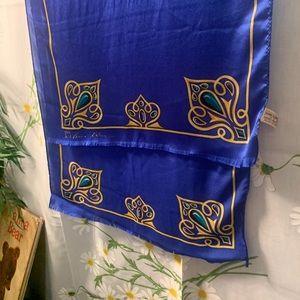 Vintage Anne Klein cobalt gold border silk scarf
